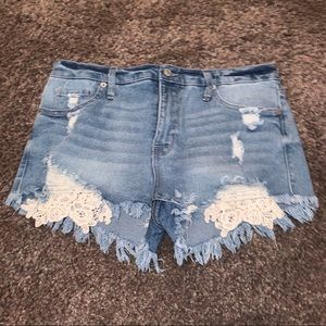 Jean Shorts w/ Lace Detail NEVER WORN!